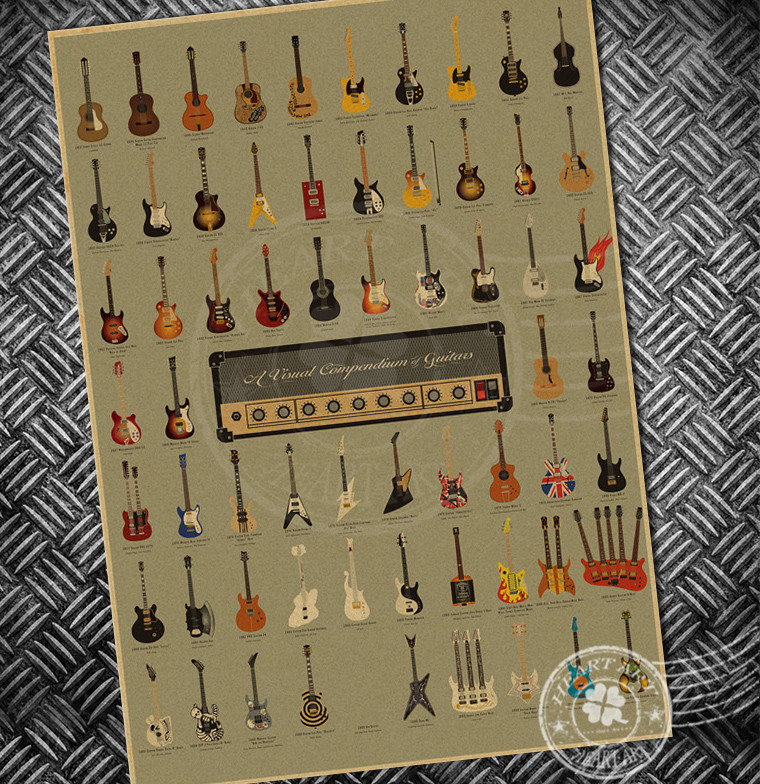 Accrocher Sa Guitare Au Mur Unique Photos っvintage Guitare Musique Collection De Affiches Mur D Autocollant