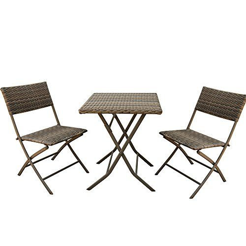 Amazon Table Pliante Nouveau Galerie Patioroma 3 Pcs Outdoor Rattan Steel Folding Table and Chairs Bistro