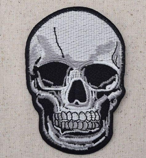 Applique Murale Gothique Nouveau Photos Iron Embroidered Applique Patch Large Gray Black Human Skull