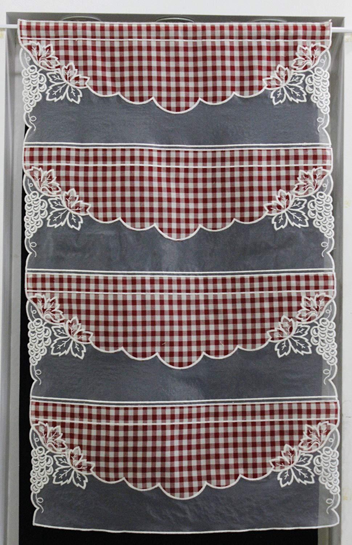 Brise Bise Cuisine Moderne Élégant Photographie Rideau Modulable Etamine Vichy Rouge Et organza Brodé 59 Cm Réf