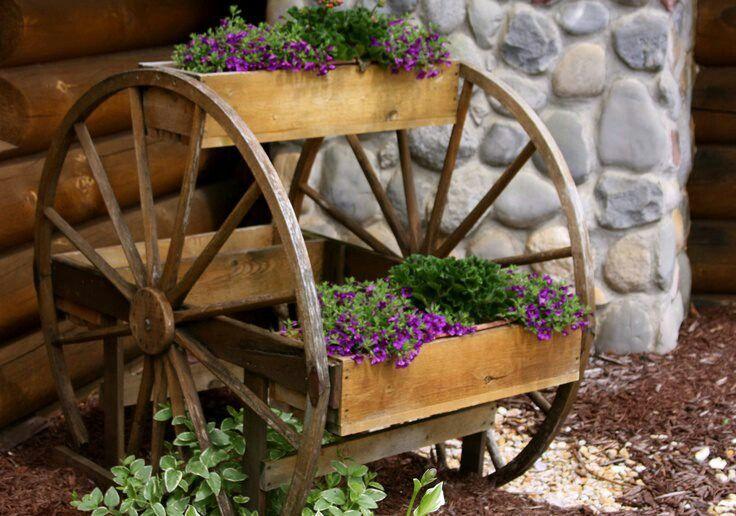 Brouette Deco Jardin Frais Photographie Old Wheel Flower Boxes Outdoor Gardening Pinterest
