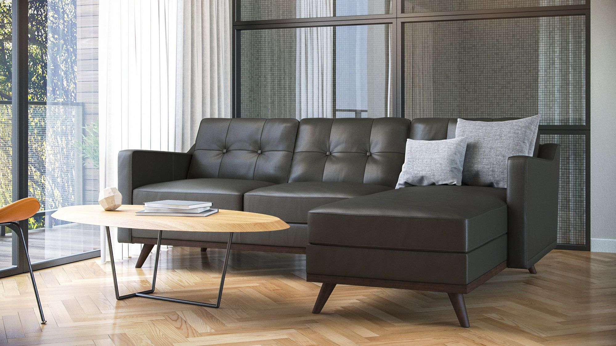 Canapé Angle Cuir Buffle Élégant Galerie Monika Full Leather Sectional Products
