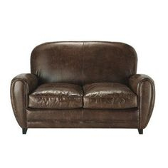 Canape Cuir Vieilli Vintage Beau Collection Canapé Club 2 Places En Microsu¨de Marron