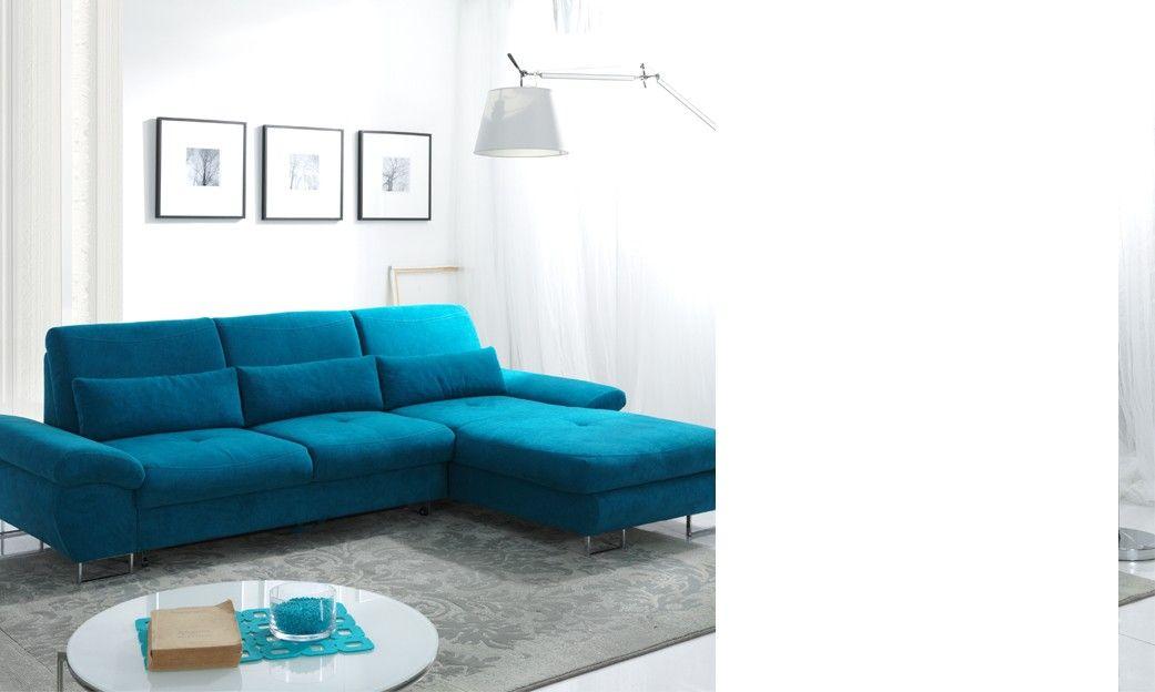 Canape Lit Ampm Inspirant Galerie Canapé D Angle Convertible En Tissu Bleu Azur Luciano Avec Coffre