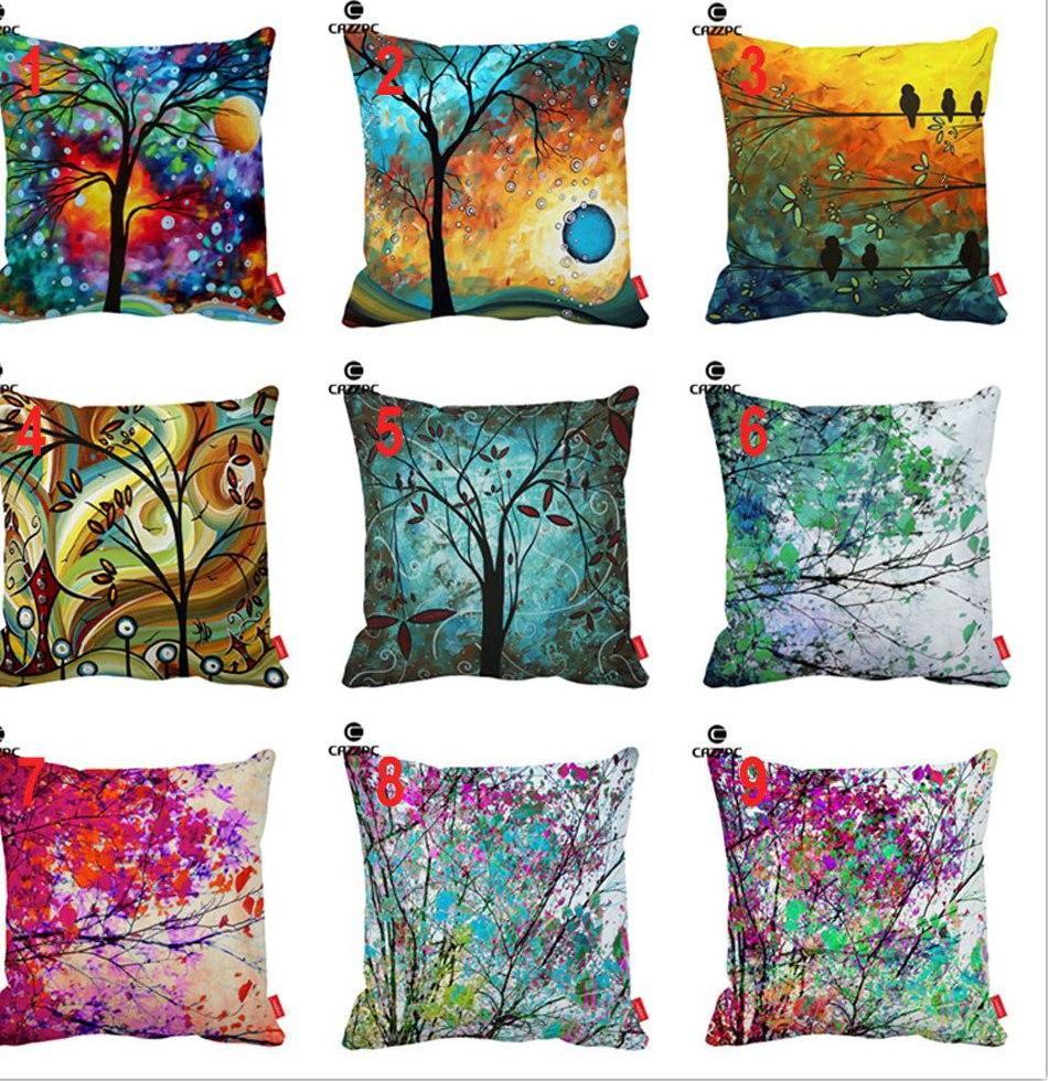 Canapé Ras Du sol Impressionnant Stock ᗚaquarelle Multicolore Brosse Peinture Abstraite Arbre Oiseau
