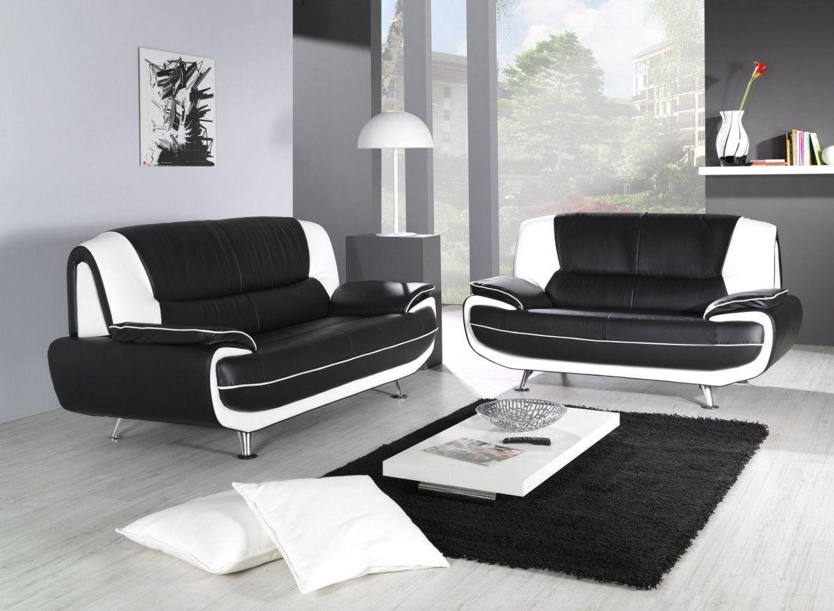 Canape Simili Cuir Pas Cher Frais Images Ensemble De Canapé 3 2 Pvc Noir Et Blanc Design Nino