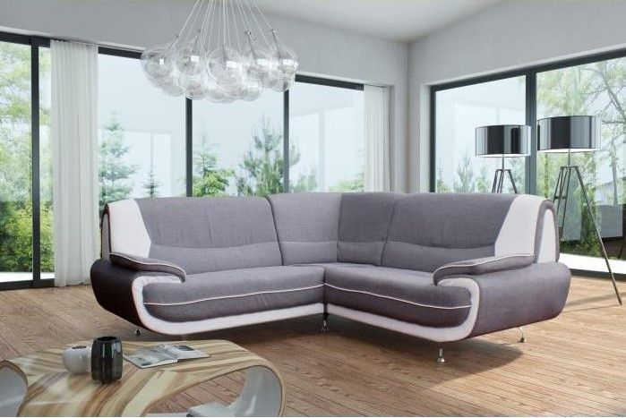 Cdiscount Canape D Angle Frais Galerie Spacio Canapé D Angle Fixe 4 Places Tissu Gris Et Simili Blanc