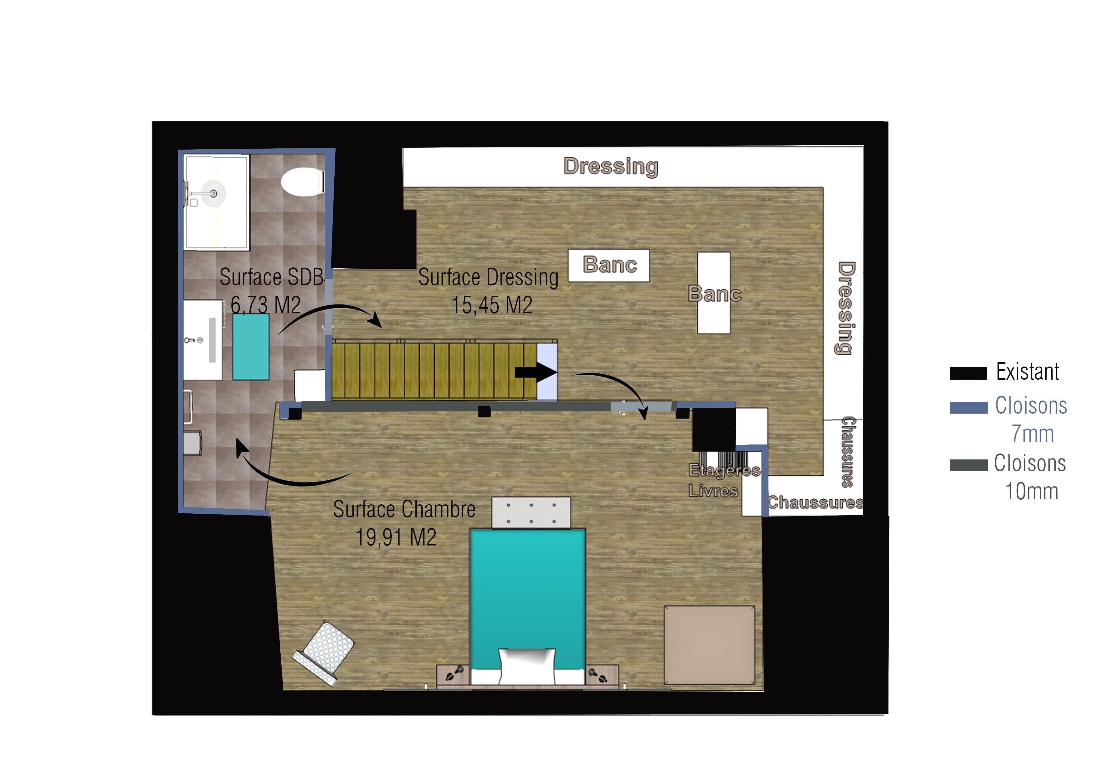 Chambre Avec Salle De Bain Et Dressing Meilleur De Galerie Suite Parentale Avec Salle De Bain Et Dressing 20m2 Sympa Suite