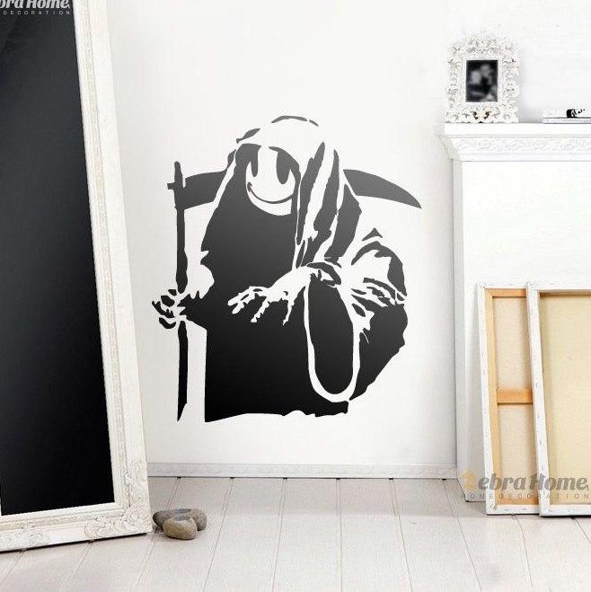 Cire Teintee Pour Canape Cuir Beau Images ᐂbanksy Heureux Faucheuse Wall Sticker Pour Salon Bébé Pépini¨re