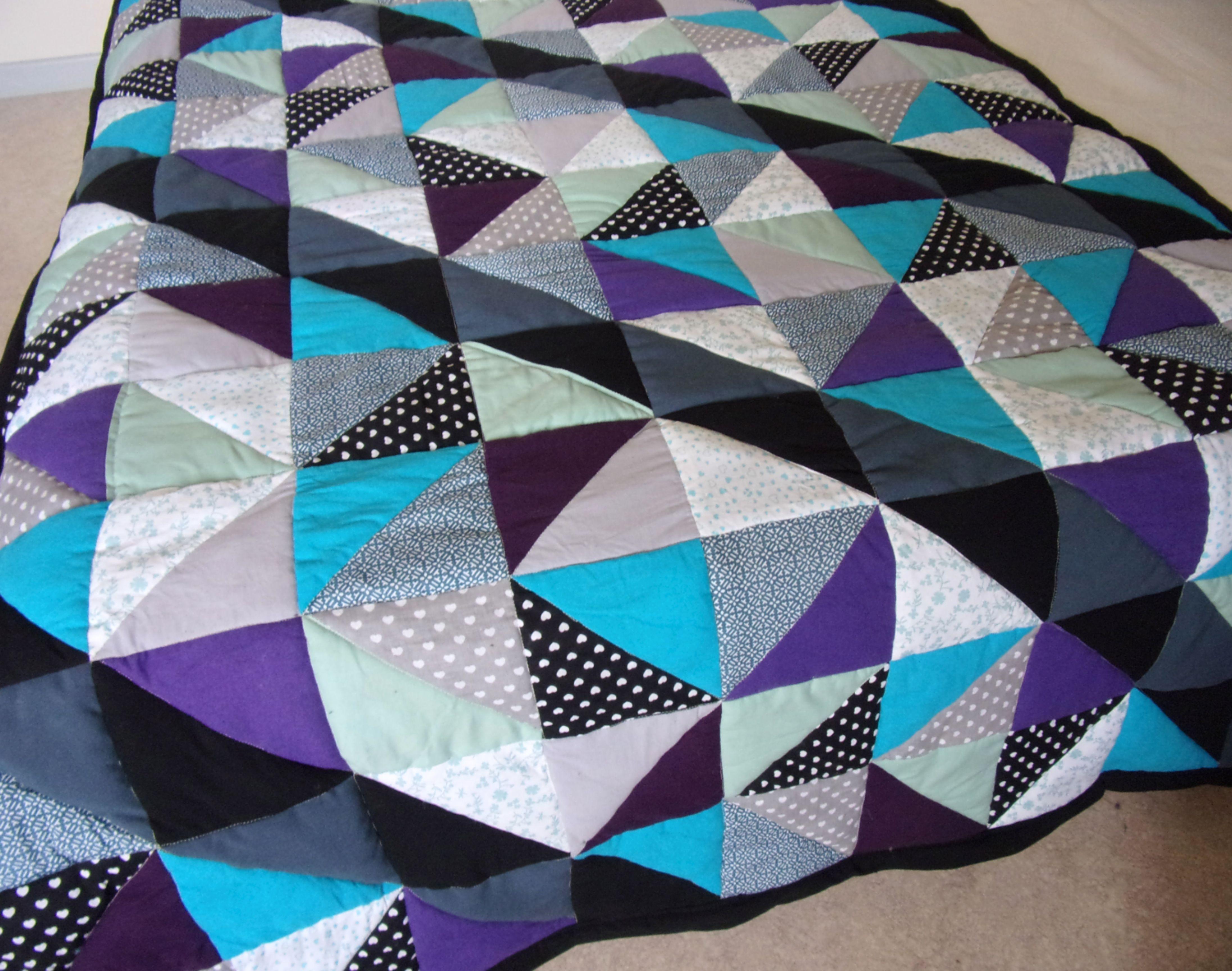 Couverture Mi Housse Polaire Impressionnant Galerie Plaid Patchwork Gris Bleu Vert Violet Noir Patchwork De Triantgles