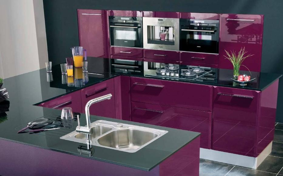 Cuisine Aubergine Et Bois Inspirant Stock Cuisine Moderne Violet