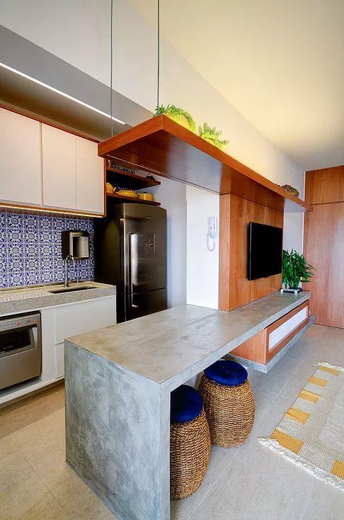 Cuisine Plus Tv Impressionnant Images Cozinha Integrada Sala Bancada De Concreto Painel De Madeira