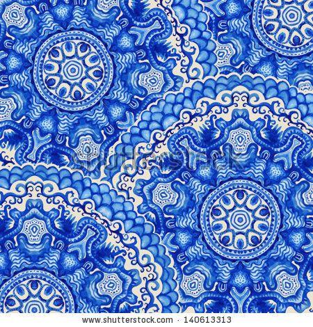 Dessin Arabesque orientale Impressionnant Photos White and Blue ornament Watercolor Vector Gzhel Illustration