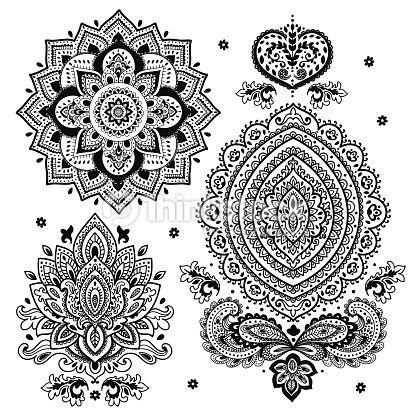 Dessin Arabesque orientale Nouveau Collection Clipart Vectoriel Set Of Indian Floral ornaments Mandala Henna