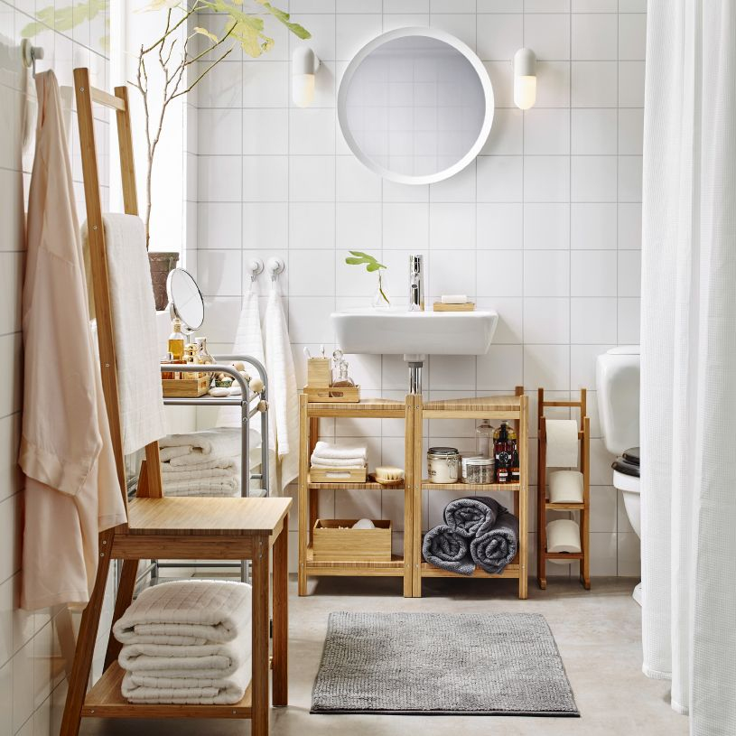 Echelle Salle De Bain Ikea Frais Collection Bijela Kupaonica Srednje Veličine Sa Stalkom Za toaletni Papir Pol