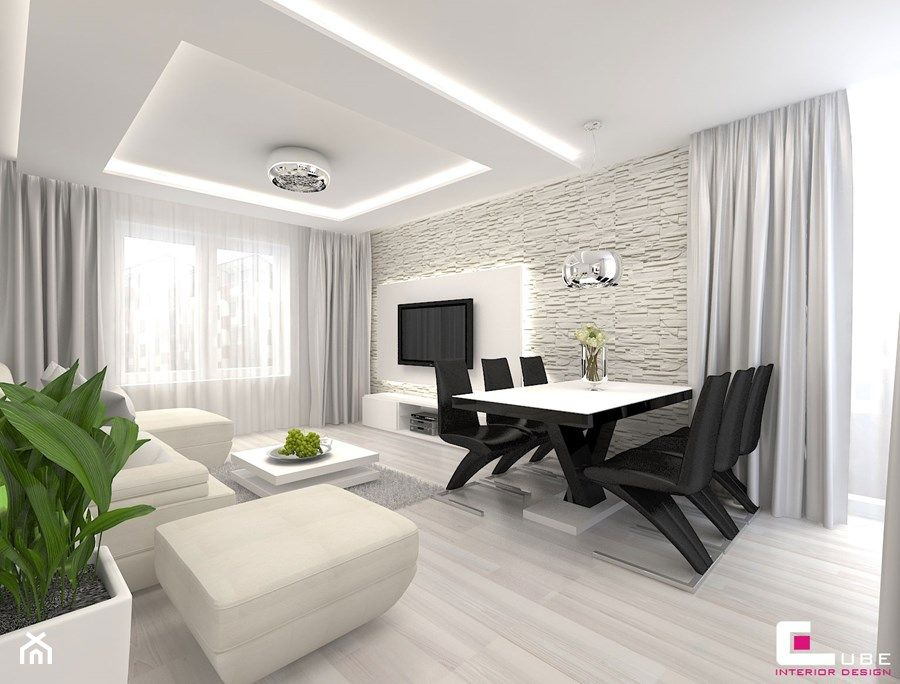 Faux Plafond Cuisine Design Nouveau Images Projekt Mieszkania W Siedlcach Średni Salon Z Jadalnią Styl