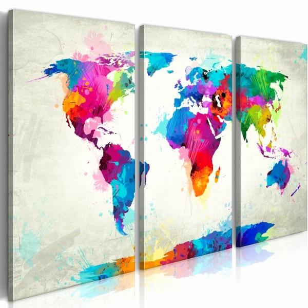 Gifi Tableau Deco Impressionnant Stock toile Peinture Gifi Nouveau Tableau Triptyque Planisph¨re Couleurs
