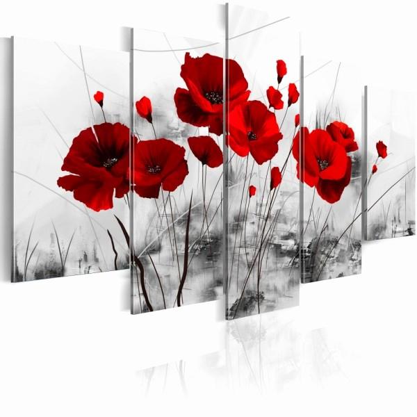 Gifi Tableau Deco Nouveau Photographie toile Peinture Gifi Unique Tableau 5 Panneaux Coquelicot Rouge