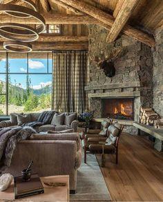 Idee Deco Interieur Cabane En Bois Unique Image Traditional Family Room Log Cabin Decorating Design