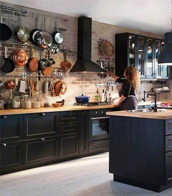 Ikea Cuisine Laxarby Luxe Galerie Cuisine Avec Faces De Tiroir Et Portes Brun Noir Et Portes Vitrées