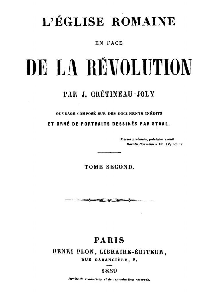 Jonc Inflexible De Fran Luxe Photos Crétineau Joly Jacques L église Romaine En Face De La Révolution