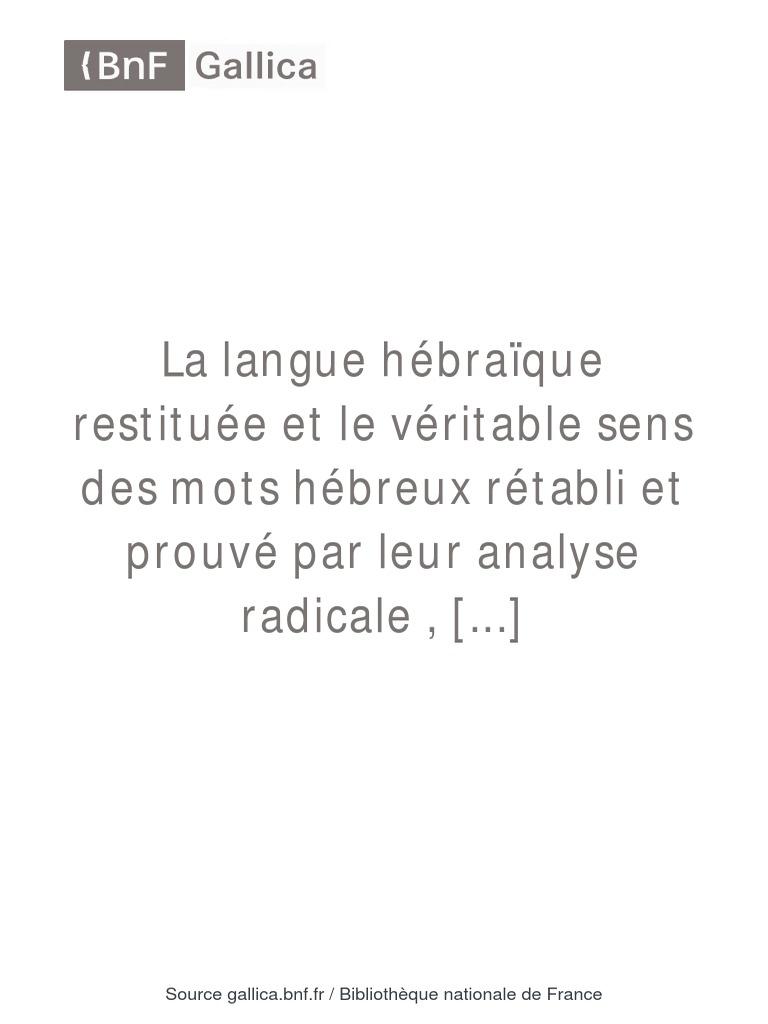Jonc Inflexible De Fran Meilleur De Images La Langue Hébra¯que Restituée Fabre D Olivet