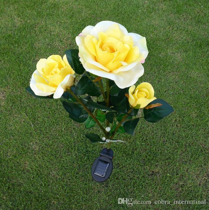 Lampe De Chevet solaire Beau Stock Acheter solaire Led Alimenté Par La Lumi¨re 3 Led Rose Fleur Lampe
