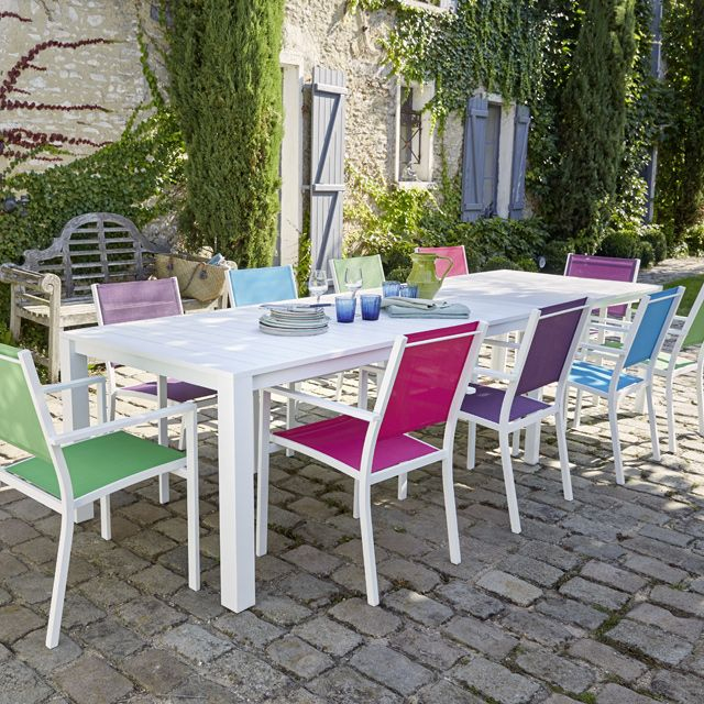 Meuble Balcon Castorama Frais Stock Table De Jardin En Aluminium Batang 205 335 X 101 Cm Blanc