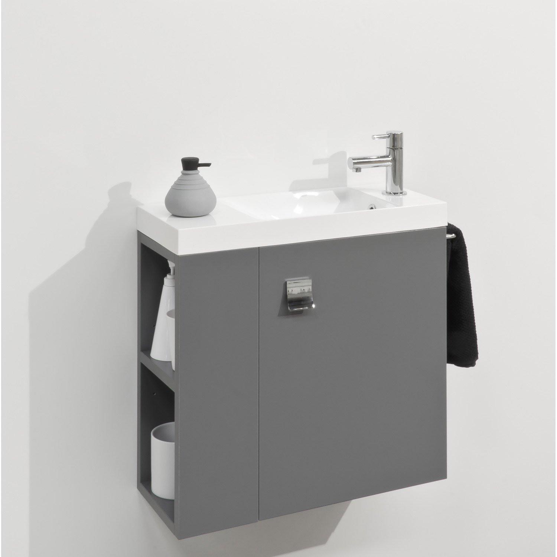 Meuble Salle De Bain Blanc Laqué Leroy Merlin Impressionnant Galerie Lave Mains Meuble Avec Meuble Lave Mains Avec Miroir Gris Gris N 1