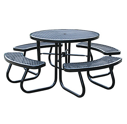 Mig Brico Depot Élégant Stock Paris 46 Inch Black Picnic Table with Built In Umbrella Support