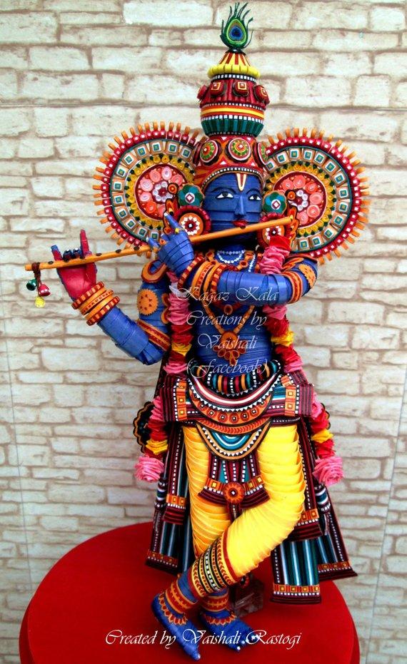 Modele De Quilling A Imprimer Gratuit Nouveau Images Paper Handmade Quilled Lord Krishna Paper Sculpture