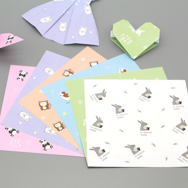 Modele Quilling A Imprimer Beau Galerie 15 Cm 48 Pcs Carré Imprimer Motif Main origami Mod¨le Animal Enfant