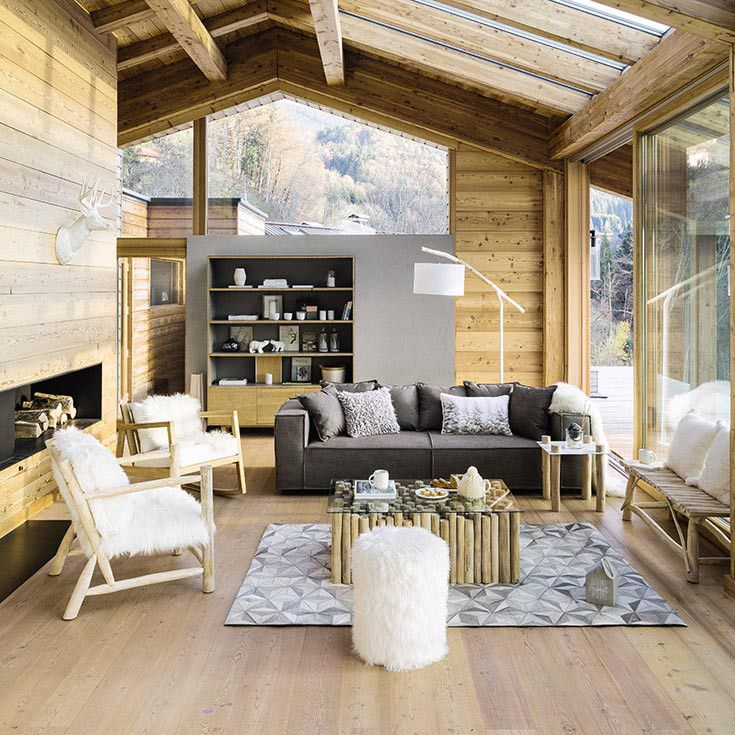 Mon Chalet Design Impressionnant Photos Salon Bois Blanc Gris Chalet Moderne Maisons Du Monde