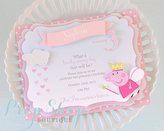 Peppa Pig Imprimer Nouveau Photographie Peppa Pig Shabby Chic Birthday Invitations