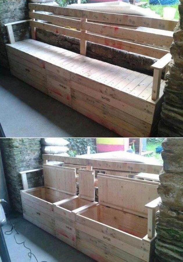 Plan Banc Palette Élégant Collection Pallet Patio Bench with Storage Pallets Furniture
