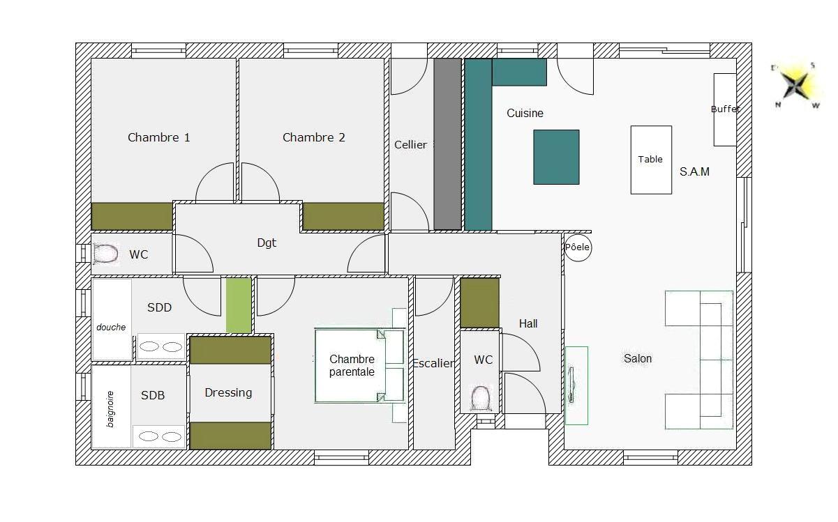 Plan Chambre Avec Dressing Beau Galerie Suite Parentale Avec Salle De Bain Et Dressing 20m2 élégant 34 Plan