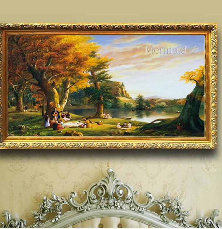 Quelle Densité De Mousse Pour Un Canapé Inspirant Photographie ᓂpeint  La Main Thomas Kinkade Automne Sur Le Lac Paysage Peinture