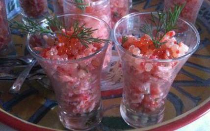 Salade De Perles Au Chorizo Frais Photos Verrines De Perles Du Japon Au Surimi Et Aux Oeufs De Lump