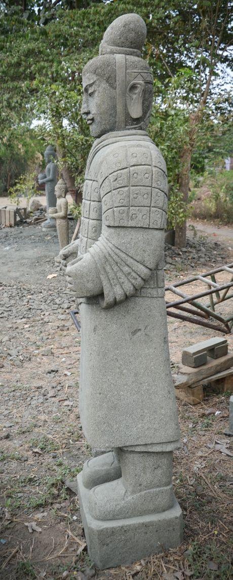 Statue Deco Grande Taille Beau Galerie Statue Statue soldat Officier Pierre Naturelle Armée De Xian 2 M