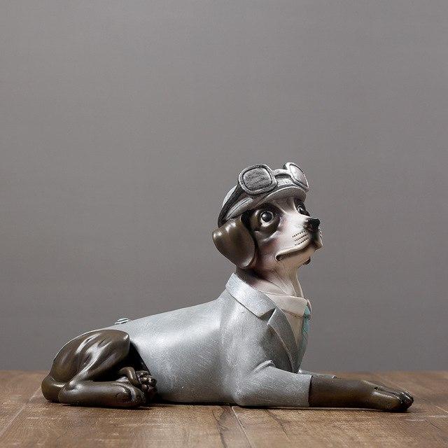 Statue Deco Grande Taille Beau Stock Saucisse Chien En Costume Figurine Main Résine Teckel Statue Animal