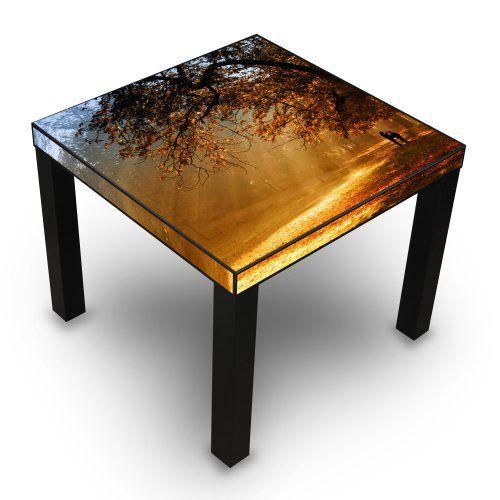 Table Basse Amazon Unique Photos Table D Appoint Noir Avec Motif Doré  L Automne Banjado