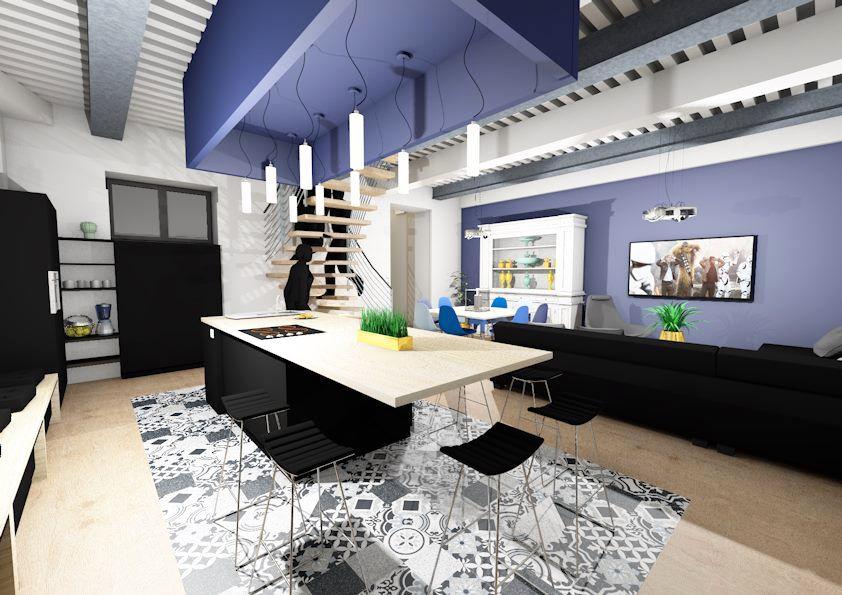 Tapis Contour Wc Bambou Nouveau Photographie Cuisine Noire Mat Avec Faux Plafond De Couleur Bleu En Rappel Du Mur