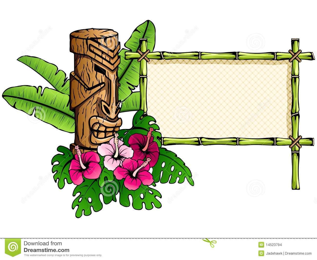 Tapis Contour Wc Bambou Unique Image Drapeau Hawa¯en Détaillé Avec La Statue De Tiki Illustration De