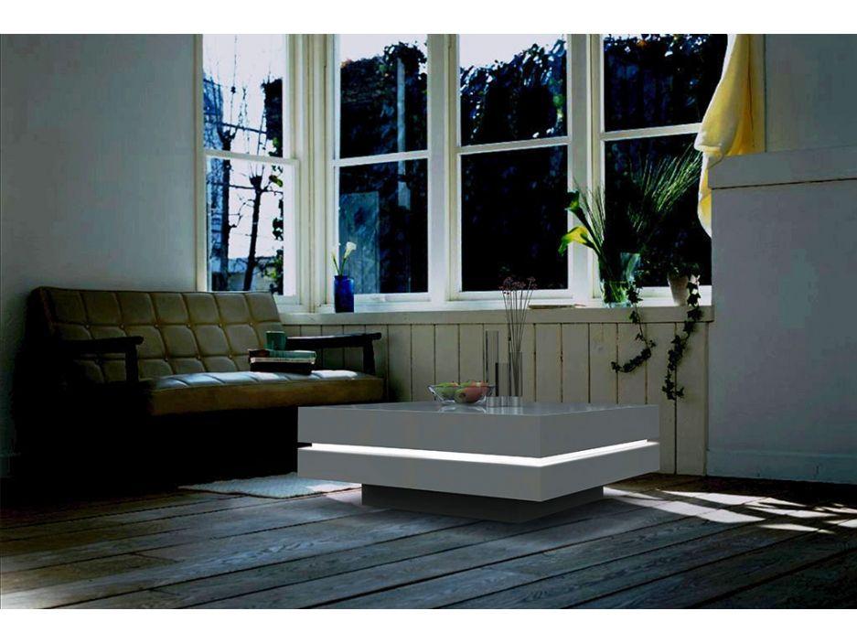 Vente Unique Salle De Bain Luxe Photos Table Basse Lyess Mdf Laqué Blanc Leds
