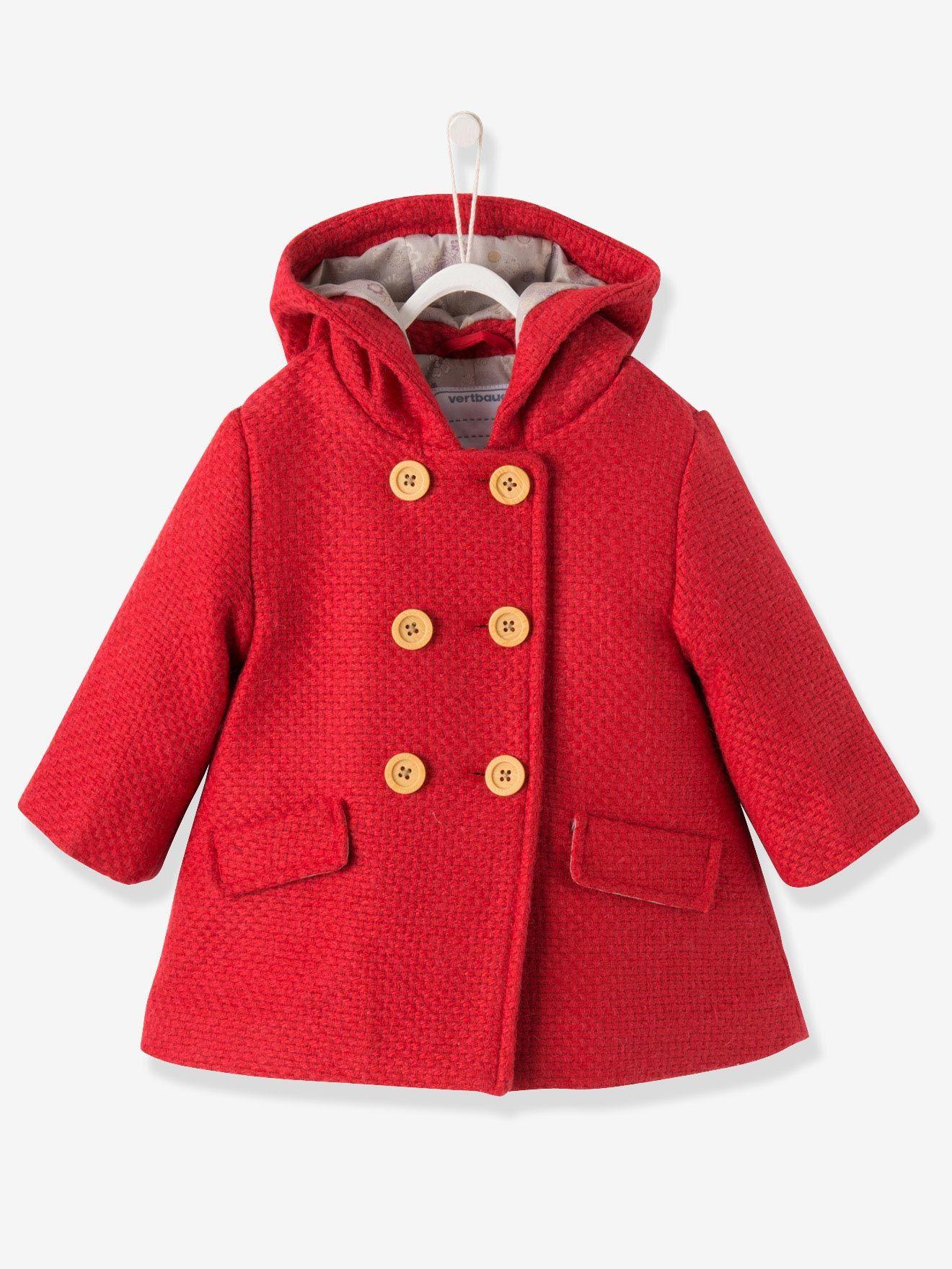 Vert Baudet Fille Frais Photographie Vertbaudet Baby Mantel Mit Kapuze Wollmix In Rot
