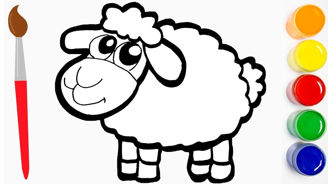 Cara Menggambar Dan Mewarnai Domba Lucu   Menggambar Domba   Cat Color 🔴 throughout Gambar Domba Sketsa