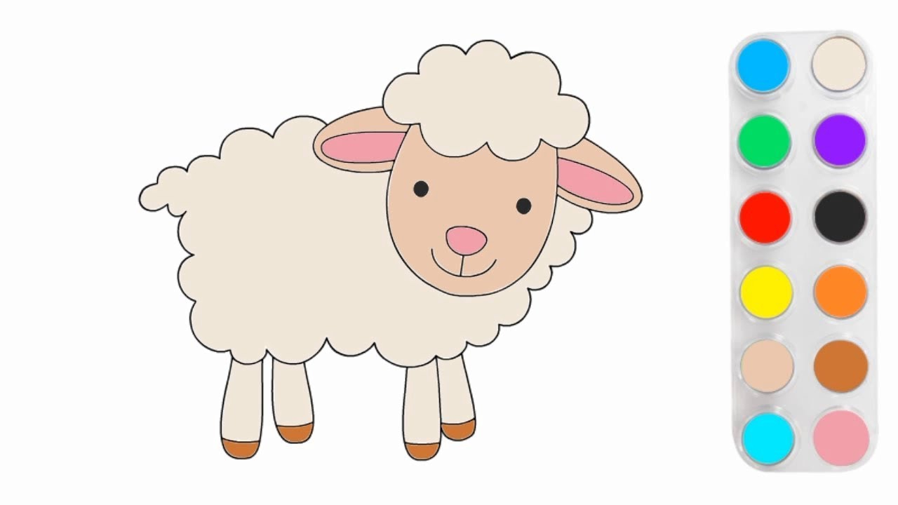 Cara Mudah Menggambar Dan Mewarnai Domba Lucu with regard to Gambar Domba Mewarnai