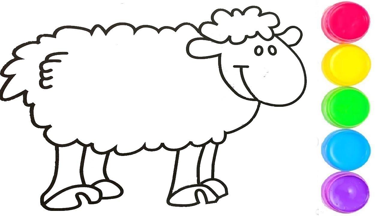 Pelajari Menggambar Dan Mewarnai Domba, Kereta Dorong Untuk Anak Anak throughout Gambar Domba Mewarnai